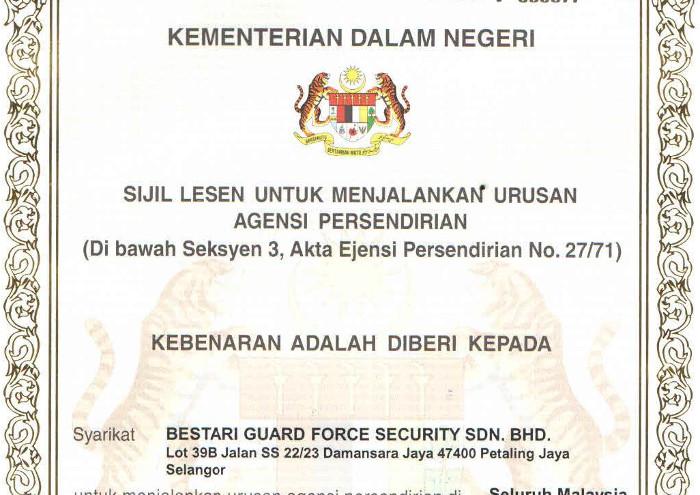 Bestari Guard Force Security - Certification
